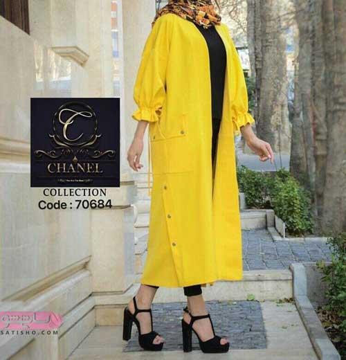 مدل مانتو تابستانی بلند تابستانی زرد رنگ