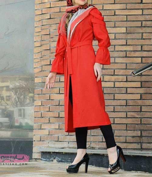 مدل مانتو بلند نارنجی آستین شیپوری جدید