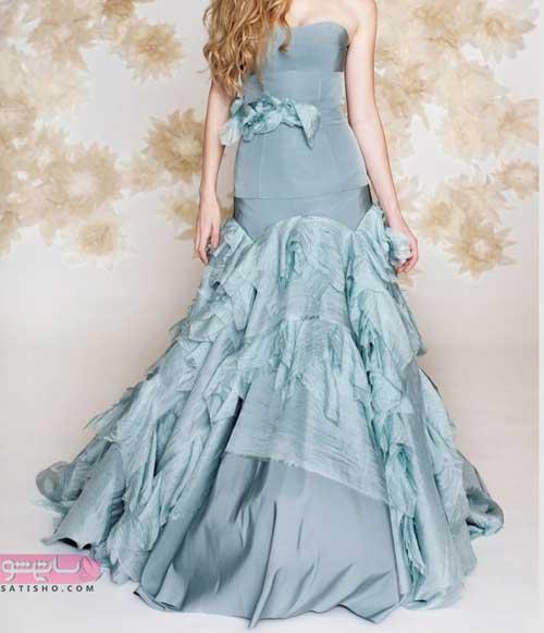 جدیدترین مدل لباس مجلسی بلند با پارچه مخمل و ساتن
