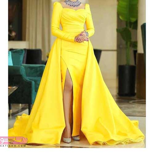 مدل لباس مجلسی بلند با پارچه لمه زرد رنگ
