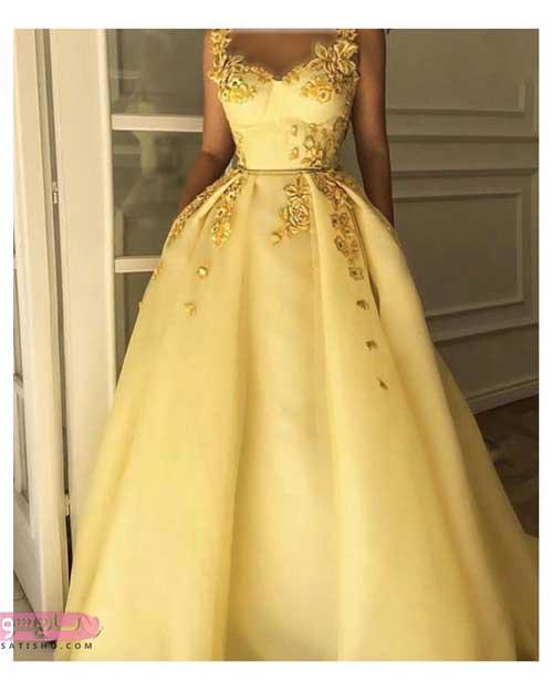 مدل لباس مجلسی بلند پوشیده رنگ روشن