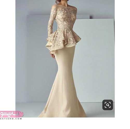 جدیدترین مدل لباس مجلسی بلند با گیپور با طرح امروزی