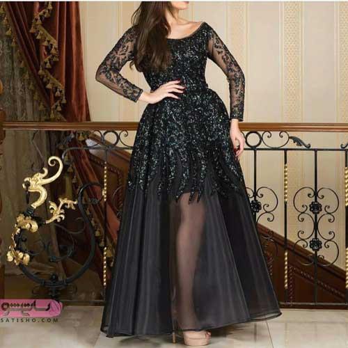 مدل لباس مجلسی به رنگ مشکی با دامن تور