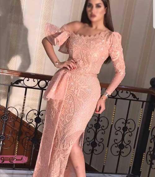 لباس مجلسی بلند بغل چاک دار گیپوری