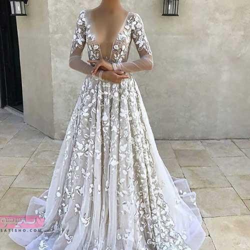 لباس شب مخصوص مراسم عروسی به رنگ سفید