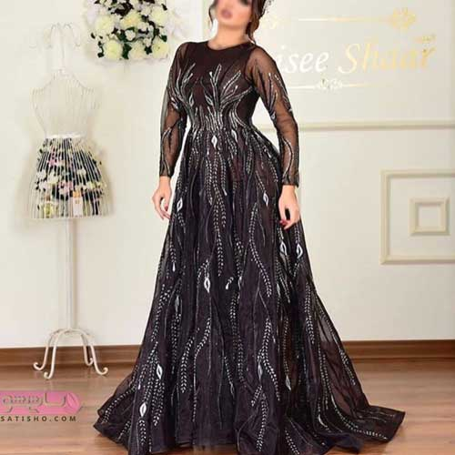 لباس مجلسی گیپور و ساتن بلند زنانه