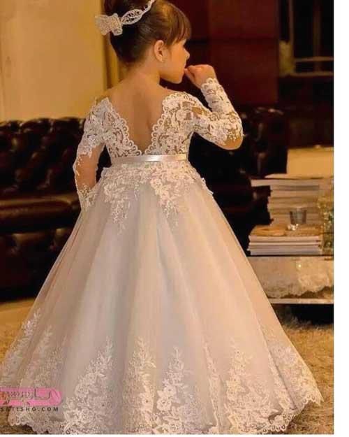 لباس مجلسی گیپوردار دخترانه برای سن 5 تا 11 سال