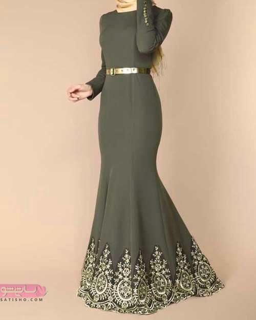 جدیدترین مدل لباس مجلسی بلند آستین دار و پوشیده