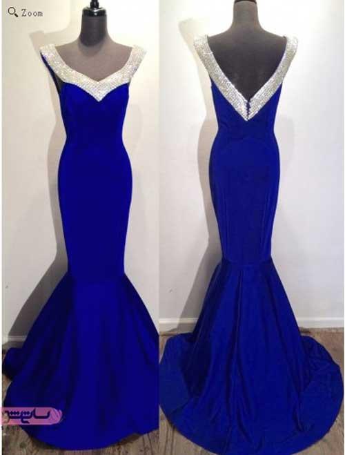 عکس لباس شب آبی برای عروسی