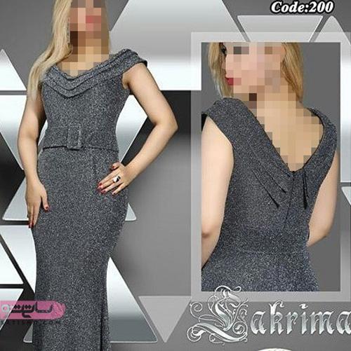 لباس مجلسی بلند زیبا 98 با پارچه لمه خاکستری