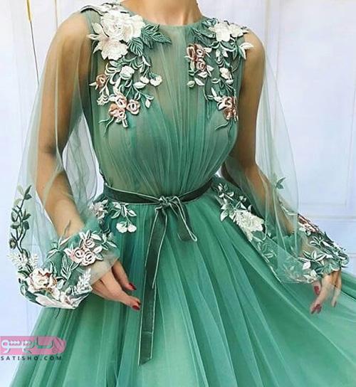 جدیدترین مدل لباس مجلسی بلند و پوشیده پسته ای رنگ