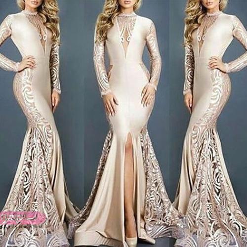 لباس مجلسی ساتن بلند زیبا