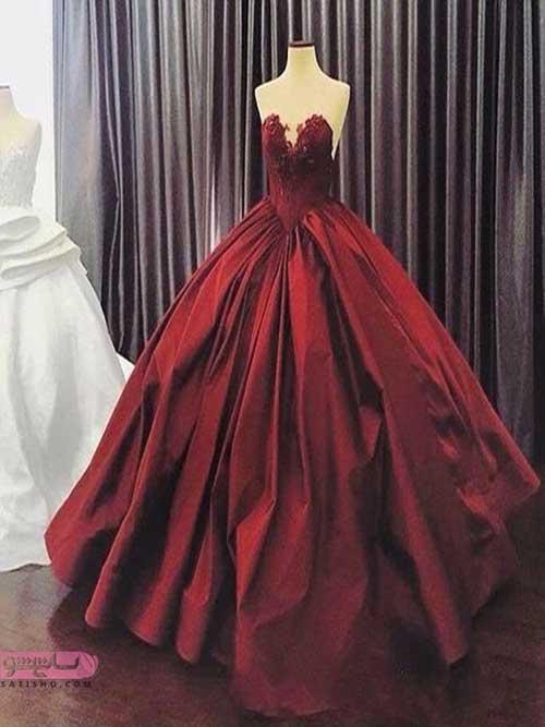 مدل لباس مجلسی بلند دکلته زرشکی رنگ
