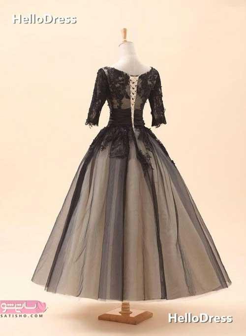 مدل لباس مجلسی بلند گیپور کار شده با دو رنگ