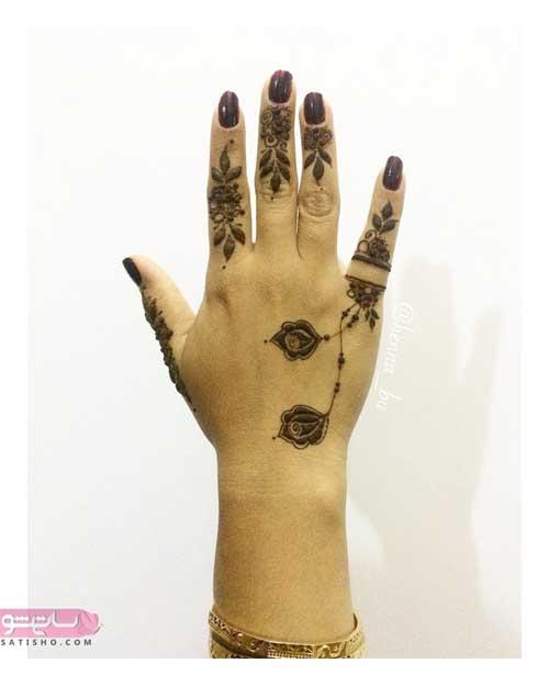 طرح حنا روی انگشت های دست