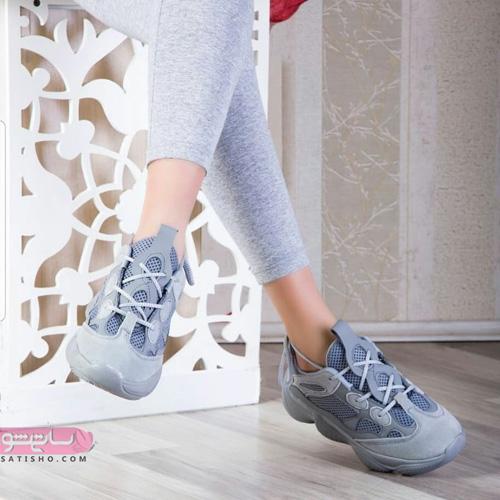 کفش اسپرت دخترانه شیک 98 خاکستری رنگ