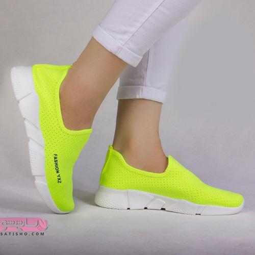 عکس کفش های اسپرت جدید دخترانه سفید و زرد رنگ