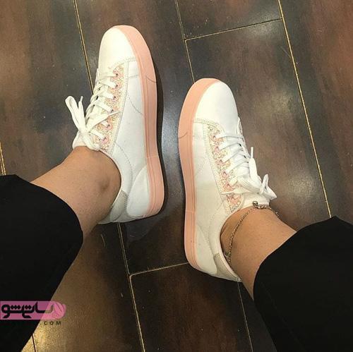 کفش اسپرت دخترانه شیک سفید بند دار صورتی