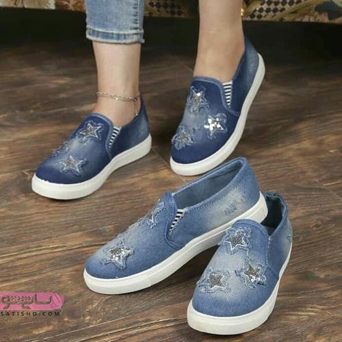 تصاویر کفش اسپرت دخترانه جدید طرح لی مدرن ستاره ای