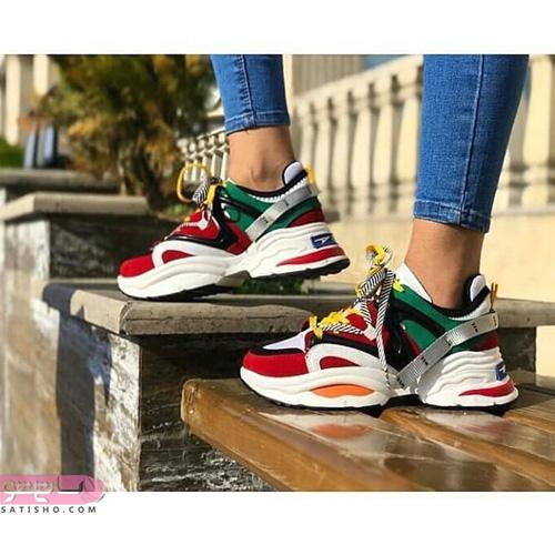 عکس کفش اسپرت دخترانه لژدار رنگی رنگی