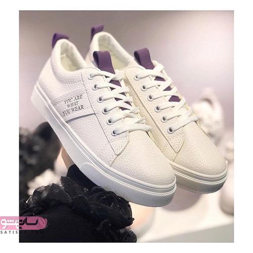 مدل کفش کتانی اسپرت دخترانه سفید و بنفش شیک