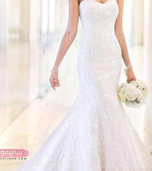 مدل لباس عروس جدید 98 دامن ماهی پرکار