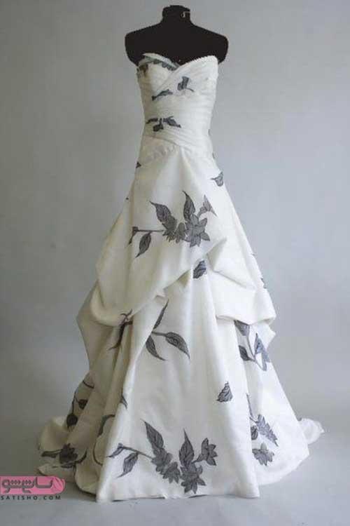 مدل لباس عروس ساده ساتن طرح دار