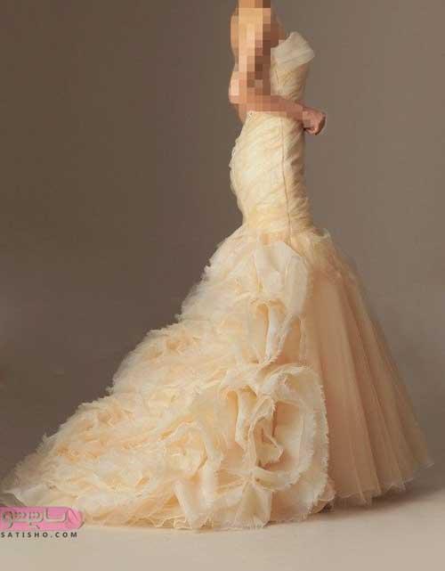 شیک ترین مدل های لباس عروس جدید نباتی رنگ