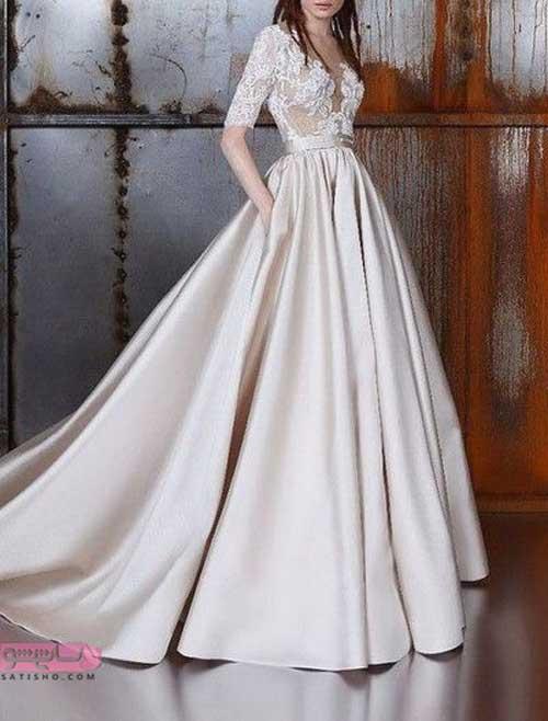 انواع لباس عروس جدید از جنس ساتن براق