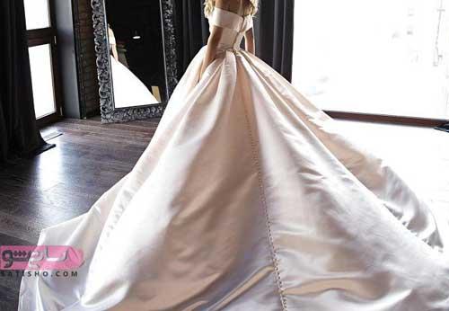 عکس لباس عروس جدید 98 ساده پشت بلند