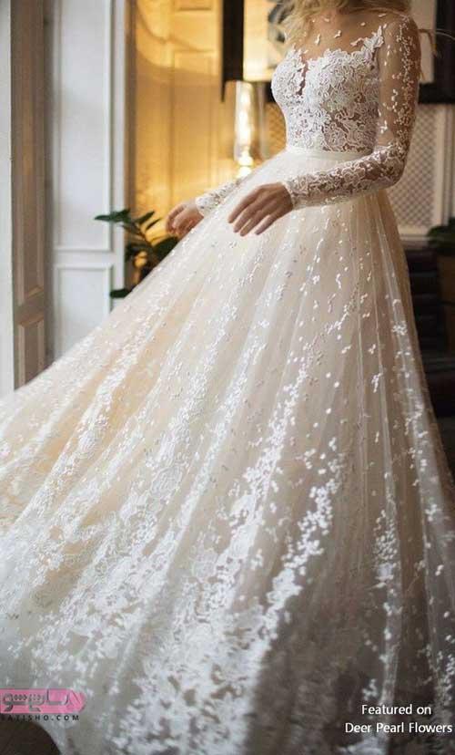عکس لباس عروس جدید استین دار خاص و زیبا