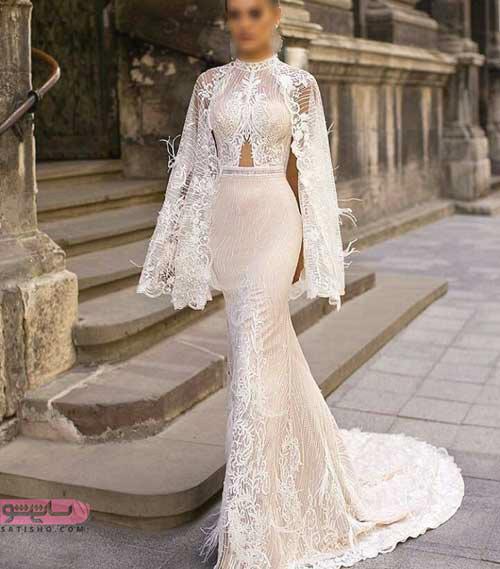 مدل لباس عروس گیپور پوشیده پشت بلند مناسب نامزدی