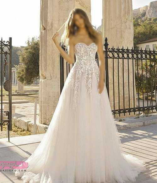 لباس عروس ساتن و تور با دامن تمام کلوش