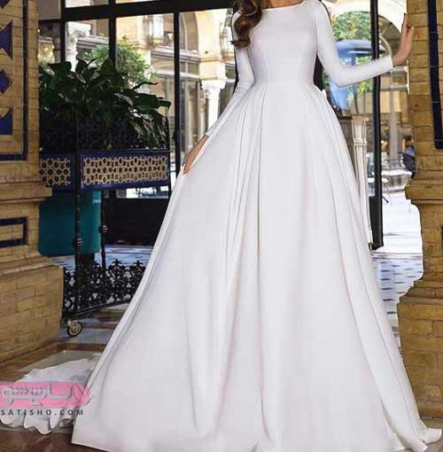 مدل لباس عروس گیپور آستین دار ساتن ساده جذاب