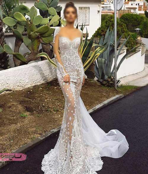 لباس عروس یقه قایقی شکیل و خاص