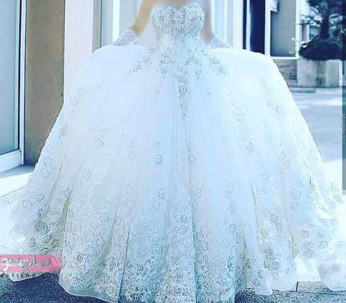 مدل لباس عروس گیپوری با طرح ژورنالی امروز