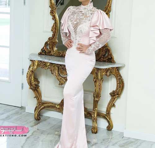 جدید ترین لباس عروس ساده و شیک گلبهی رنگ