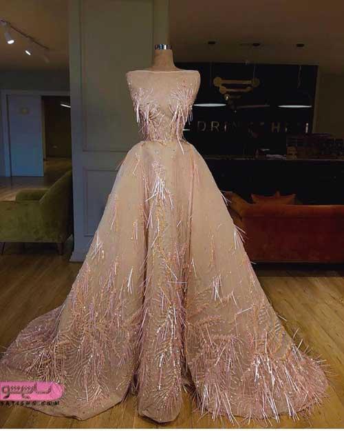 جدیدترین لباس عروس مناسب نامزدی طلایی رنگ