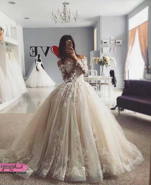 انواع لباس عروس جدید و زیبا توری شیک