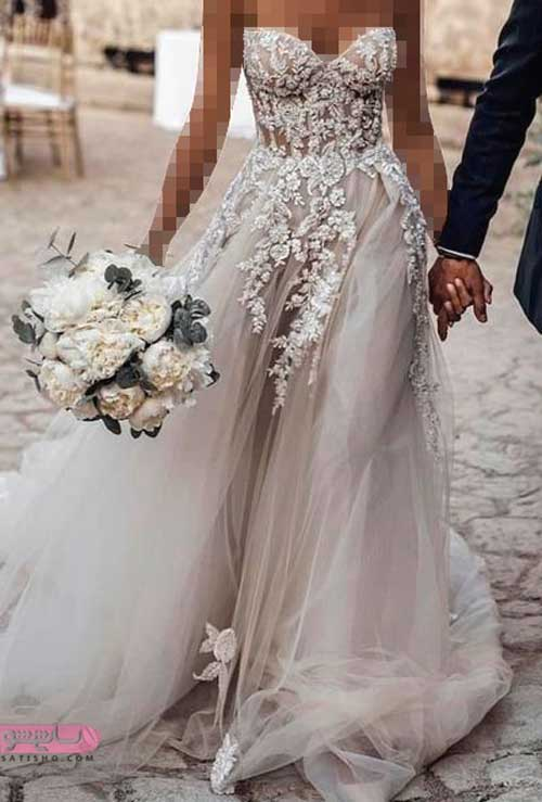 مدل لباس عروس شیک استین دار