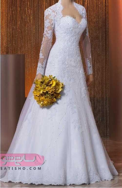 عکس لباس عروس آستین دار سایز بزرگ