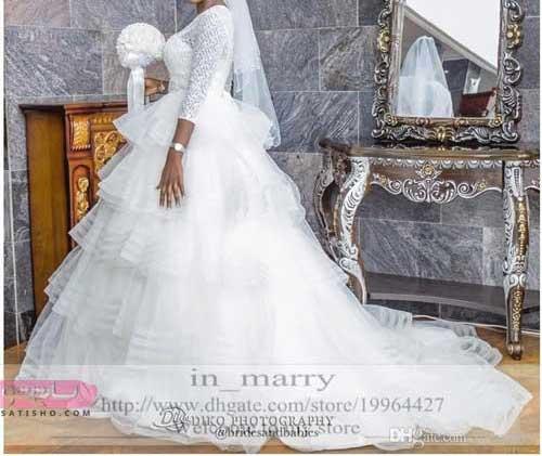 عکس لباس عروس ایرانی استین دار
