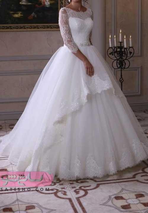 لباس عروس سایز بزرگ آستین دار
