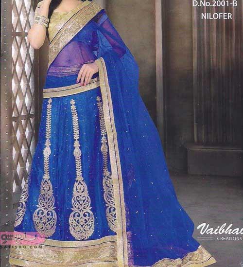 لباس هندی دخترانه با خرجکار طلایی