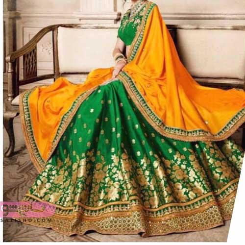 عکس از لباس مجلسی هندی دخترانه دو رنگ