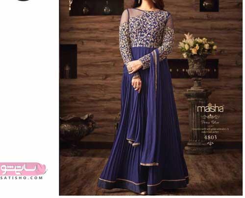 لباس مجلسی هندی رنگ آبی کلاسیک