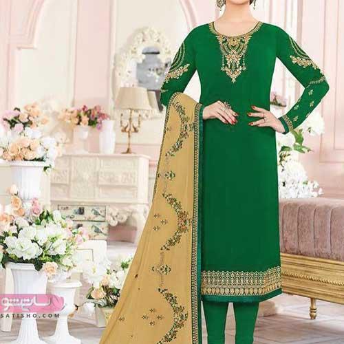 عکسهای مدل لباس هندی 2019 سبز رنگ