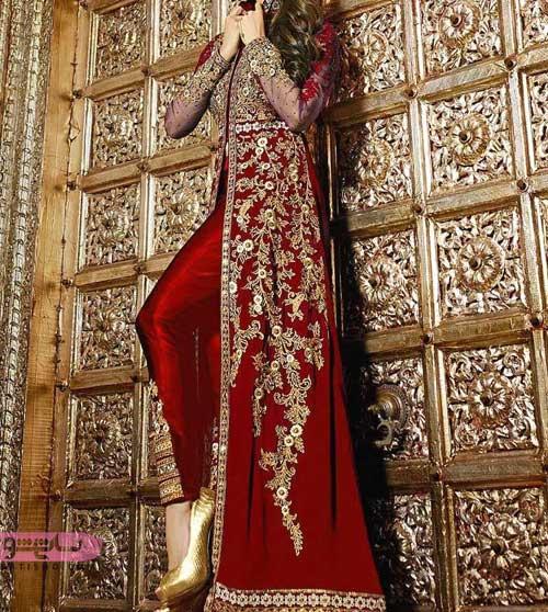 مدل لباس هندی جدید قرمز و طلایی