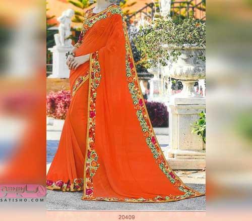 انواع لباس هندی شیک 98 نارنجی رنگ