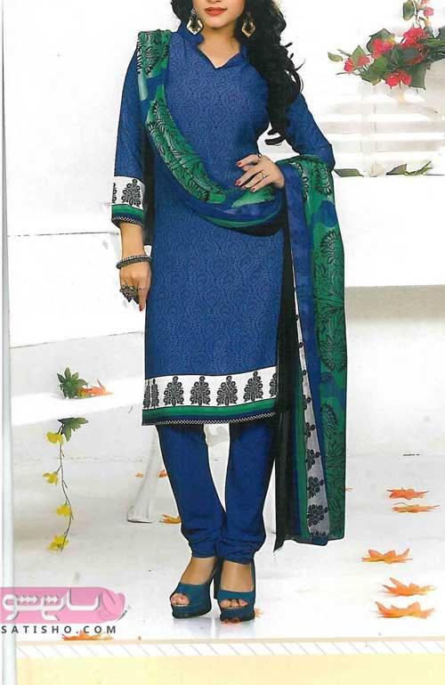 زیباترین لباس هندی عروس ابی نفتی شیک